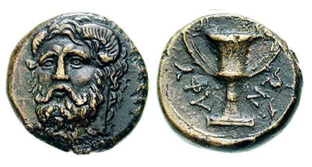 Άμμων Ζευς-Κάνθαρος(Χαλκός 360 π.Χ.)